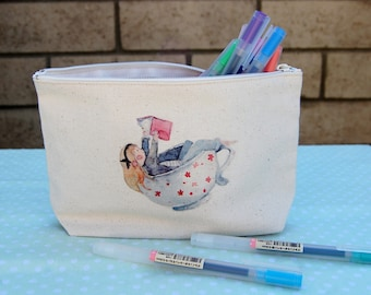 Watercolor illustration printed canvas pouch/pencil pouch/cosmetics pouch