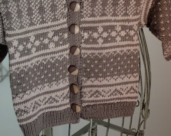 Norwegian Cardigan in Merino Wool brown beige