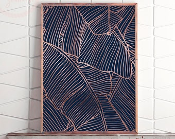 Printable Banana Leaf Decor, Banana Leaf Wall Art, Rose Gold Banana Leaf Art, Tropical Decor Print, Tropical Print, Tropical Printable Art