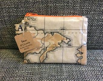 Oilcloth coin/card purse in world map design