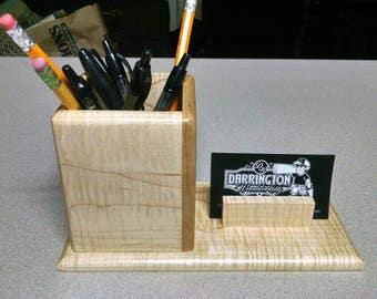 Desktop business card holder with organizer.