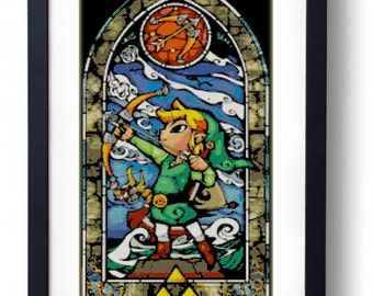 The Legend of Zelda - Link Stained Glass Bow The Wind Waker (Cross stitch embroidery pattern pdf)