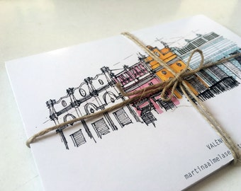 Pack 12 postal Souvenir Valencia / illustration / cities / architecture