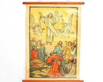 Religious,Pull Down Chart,resurrection of Jesus,School Chart,Easter the resurrection of Jesus Christ 1935,Church Poster,Jesus Print