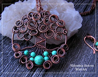 Copper turquoise tree of life pendant , wire tree of life pendant, copper turquoise tree of life necklace, wire wrapping pendant necklace
