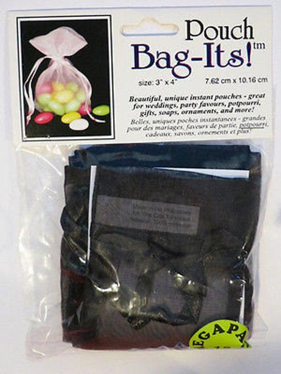 "Sheer Organza Bag-its, 12 pcs 3"" x 4"", black  **FREE U.S. SHIPPING**"