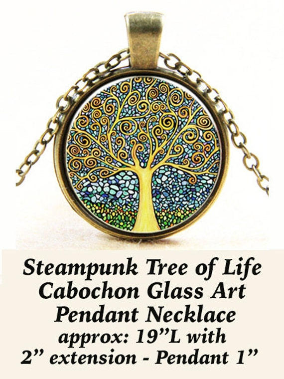 Steam Pendant Cabochon, Tree of Life **FREE SHIPPING**