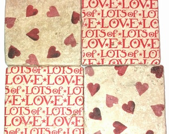 Natural Travertine Stone Coasters (Hearts and Love)