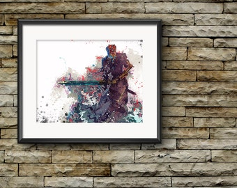 Fantasy Art Print, Lich Lord, Watercolor Art, Dungeons and Dragons, Man Cave Decor, Gift for Boyfriend, Splatter Art Print, Giclee Style Art