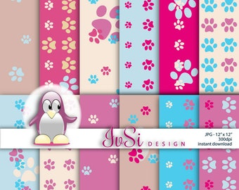 SALE Digital paper paws, paws scrapbook paper, paws background, pink digital paper pack, blue background, decorative paws