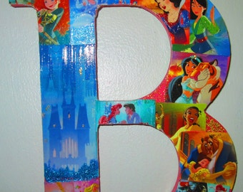 letter B with princess design 8 inch