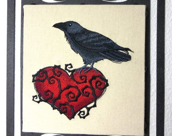Raven Heart Embroidered Wall Hanging with Ornate Plasma Cut Metal Back Frame
