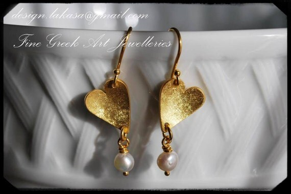 Earrings Hearts with Pearls Silver 925 Gold-plated Jewelry