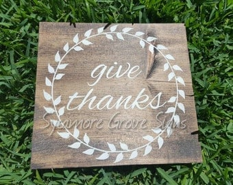 "Thanksgiving wooden sign ""Give Thanks"" fall wall hanging, home decor"