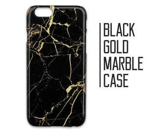 Black Gold Marble Phone Case for iPhone 7 Plus 6 6s 5 5s 5c +