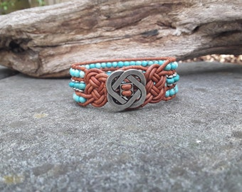 Turquoise and Silver 3 Row Single Wrap Leather Cuff Bracelet