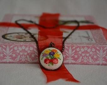 Flower bouquet cross stitch necklace, gift