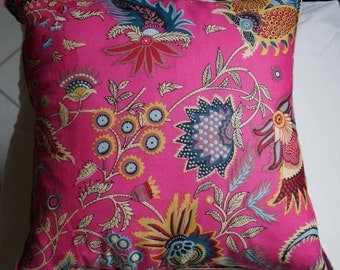Spring 10 series: Cushion, 40 x 40, or 16 x 16, pink cotton, Indian floral, linen.