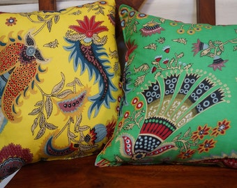 Spring 11 series: Cushion, 40 x 40, or 16 x 16 green cotton, cotton, Indian floral motifs.