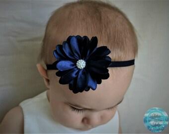 Navy Blue Headband, Baby Headband, Newborn Headband, Flower Headband, Baby Hair Bows, Baby Girl Headband