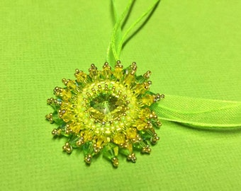 Lime Green And 24 Carat Gold Hand Beaded Swarovski Pendant Necklace Choker