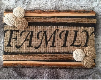 Family Burlap Basswood Sign, Wooden Sign, Burlap Sign, Burlap, Rustic Home Decor, Rustic Plaque, Distressed Wood