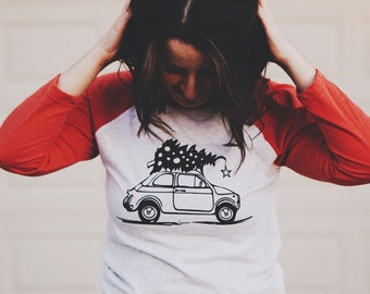 CLEARANCE***Hand Screen Printed Women's Handmade Holiday Christmas Tree - European Vintage Car Tee Shirt --Raglan, Baseball