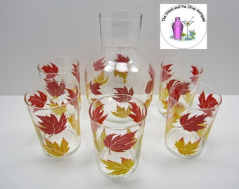 Early Libbey Red Yellow Leaves Glass Carafe Tumbler Glasses Set