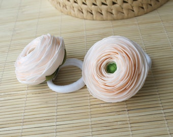Peach ranunculus Ponytail holder Elastics for hair Peach hair flower Girls hair accessories Scrunchy  Floral hair accessory Hair pigtail bow