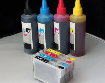 Refillable cartridges T252 #252 with 400ml Dye ink compatible with Epson workforce wf-3620 wf-3640 wf-7610 wf-7620 wf-7110