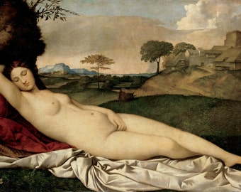 Giorgione : Sleeping Venus (1510) Canvas Gallery Wrapped Wall Art Print