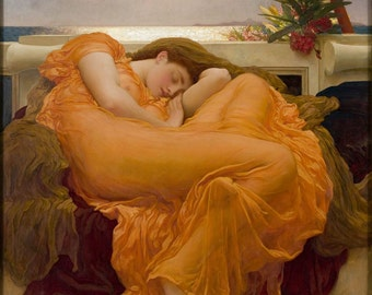 Frederic Leighton : Flaming June (1895) Canvas Gallery Wrapped Wall Art Print