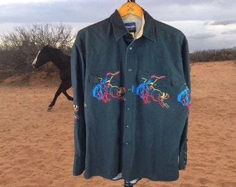 Wrangler Vintage Rodeo Western Shirt, Rodeo Show Shirt, Bucking Bronco Design, Rancher Shirt, Horse Design, Rodeo Design, Large