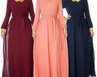 Chiffon maxi dress long sleeve. Ready to ship