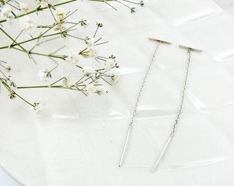 Sterling Silver Bar Threader Earrings (pair)