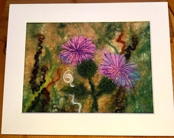 """Wet felted landscape.  Fibre art. """"Thistles"""".  Wet felted wool picture, ready to frame."""