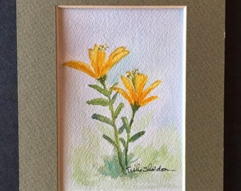 "Original floral watercolor. Yellow Lilies. 5""x7"" matted. Ready for framing!"