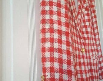 Vintage Liz Claiborne Suit Blazer/ Plaid/ Red &White/ Petite Size 4