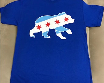 Chicago Cubs Bear Logo Chicago Flag T-ShirtChicago Cubs W Shirt Cubs Win Shirt Fly the W Shirt 2016 World Series Shirt Chicago Cubs T-Shirt