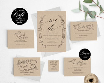 Rustic Wedding Invitation Template, We Do Wedding Invitation Printable, Vintage Invitation, Cheap Invitation, PDF Instant Download #E008ii