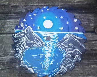 Painted saw Blade,Full Moon Painting,Full Moon Art, Moon and Stars, Wiccan Artwork, Pagan Art, Rustic Cabin Artwork, Original Painting Moon
