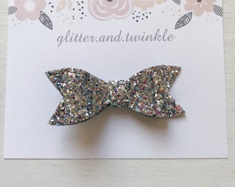 Glitter bow, alligator clip, silver bow, glitter, hair bow, head bow, bow, hair pin, bow hair pin