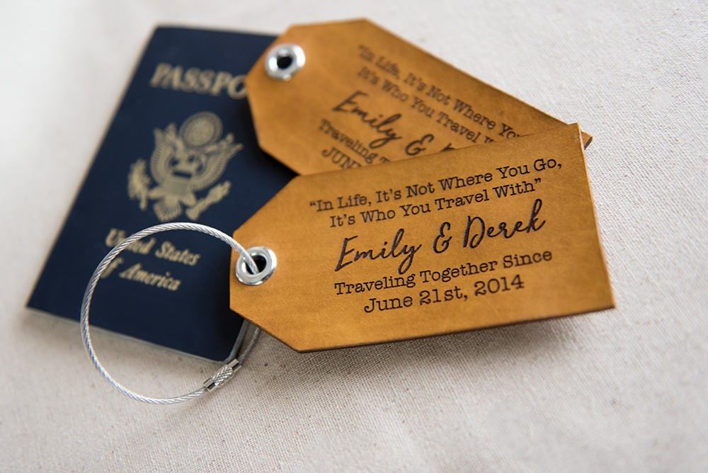 Personalized leather luggage tag Leather luggage tag