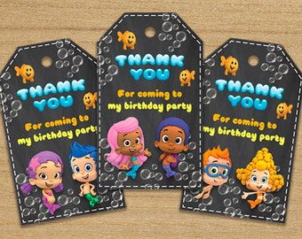 Bubble Guppies Tags, Bubble Guppies Thank You Party Tags, Bubble Guppies Printable Tags, Bubble Guppies Supplies, Guppies Tags Chalkboard