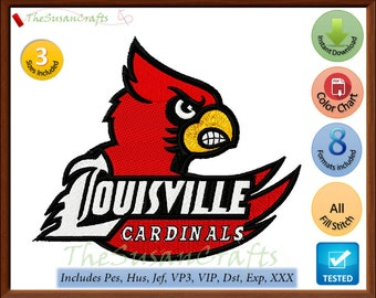 Louisville CARDINALS EMBROIDERY  DESIGNS Pes, Hus, Jef, Dst, Exp, Vp3, Xxx, Vip