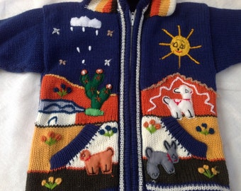 Hooded sweater for kids colors assorted with designs of Andean landscapes