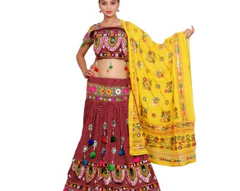 Indian Ethenic Handmade Red Lehenga Choli Dupatta Set for Women, Belly Dance Dress. ( FREE DELIVERY ) )