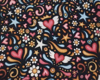 Quilters Fat Quarters of Winged Hearts, Crowns, Flowers and Stars