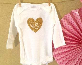 Personalized Sparkling Heart Bodysuit