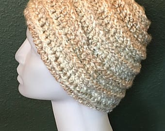 Adult Crocheted Hat, Thick Hat, Cream Colored Hat, Crocheted Beanie